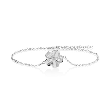 Flower Bracelet with White Cubic Zirconia in Sterling Silver