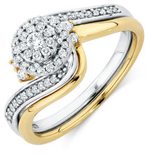 Bridal Set with 0.33 Carat TW of Diamonds in 10kt Yellow & White Gold