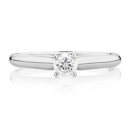 Solitaire Engagement Ring with a 0.23 Carat Diamond in 14kt White Gold