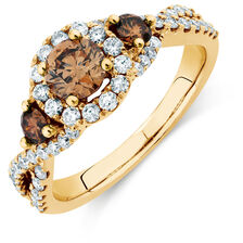 Three Stone Engagement Ring with 1.23 Carat TW of Champagne & White Diamonds in 14kt Yellow Gold