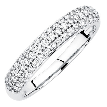 Wedding Band with 1/2 Carat TW of Diamonds in 10kt White Gold