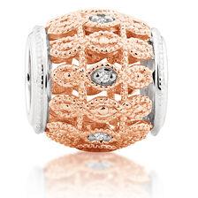 Diamond Set & 10kt Rose Gold Art Deco Charm