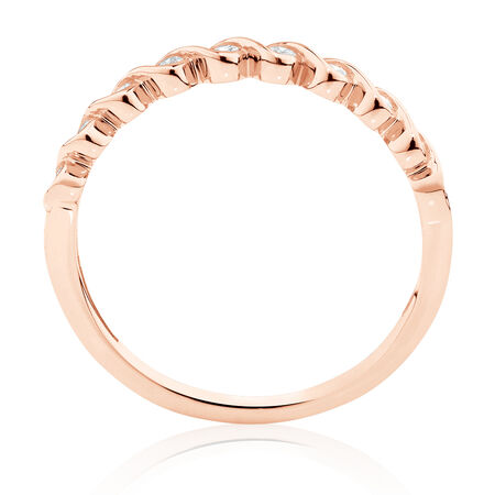 Fancy Stacker Ring with 0.12 Carat TW of Diamonds in 10kt Rose Gold