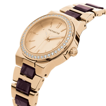 Ladies' Watch with Cubic Zirconia in Rose Tone Stainless Steel