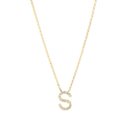 """""""S"""" Initial Necklace with 0.10 Carat TW of Diamonds in 10kt Yellow Gold"""