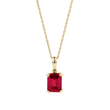 Emerald Cut Pendant with Created Ruby in 10kt Yellow Gold