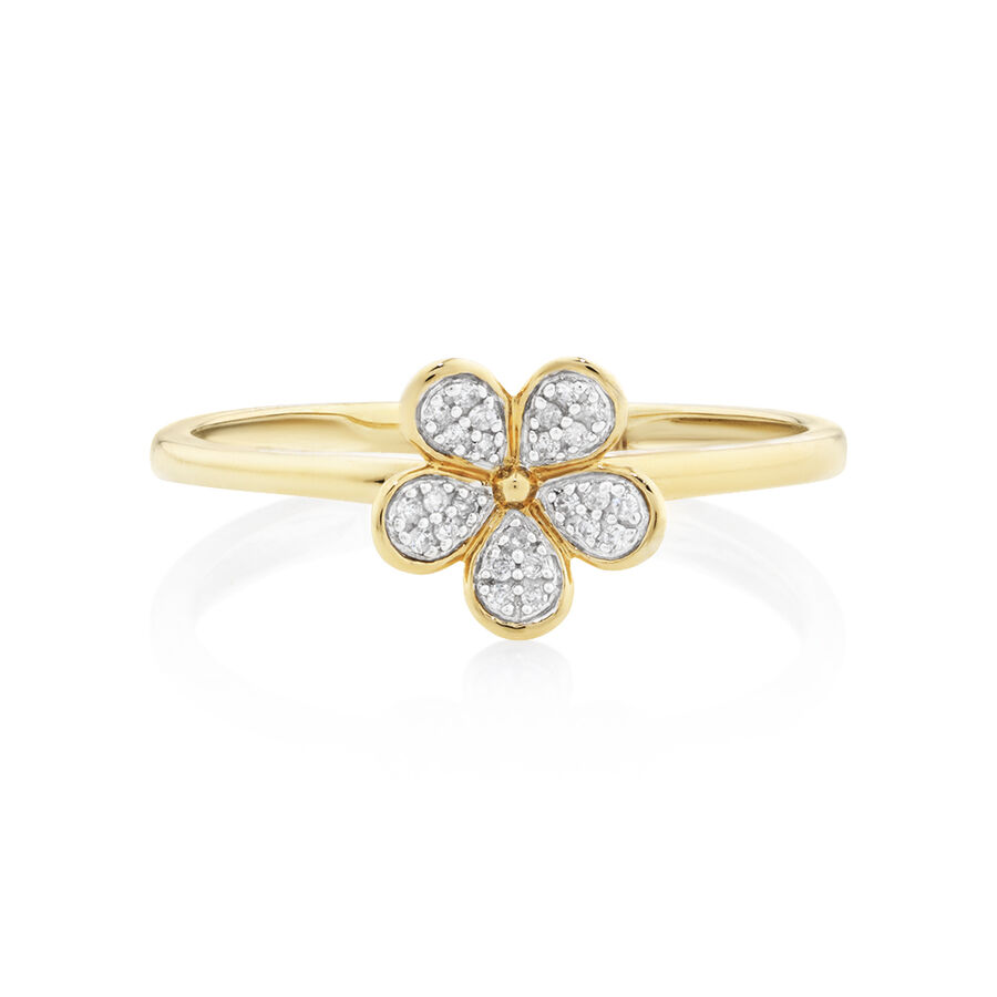 Flower Ring with 0.05 Carat TW of Diamonds in 10kt Yellow Gold