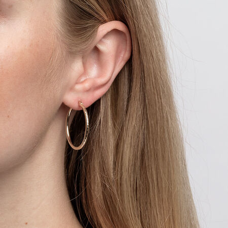 Patterned Hoop Earrings in 10kt Yellow Gold