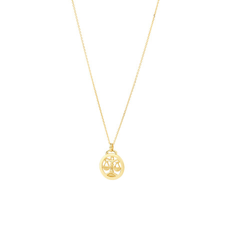 Libra Zodiac Pendant with Chain in 10kt Yellow Gold