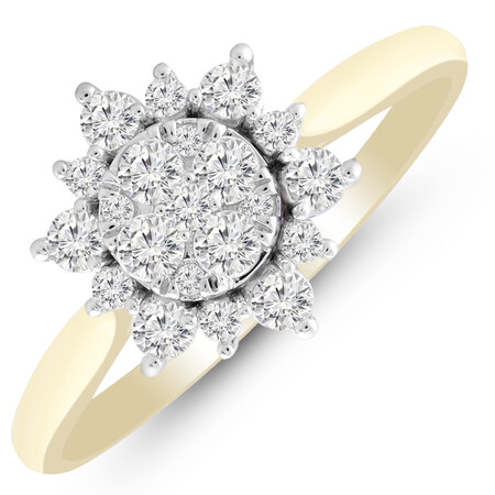 Cluster Ring with 0.58 Carat TW of Diamonds in 10kt Yellow Gold