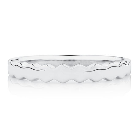 Honeycomb Stacker Ring in 10kt White Gold