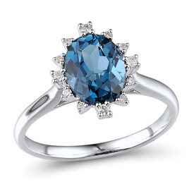 Ring with London Blue Topaz & Diamond in Sterling Silver