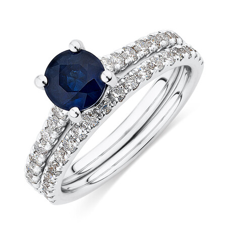 Bridal Set with 5/8 Carat TW of Diamonds & Sapphire in 14kt White Gold