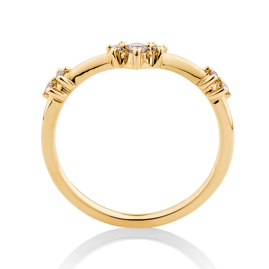 Chevron Stacker Ring with 0.12 Carat TW of Diamonds in 10kt Yellow Gold