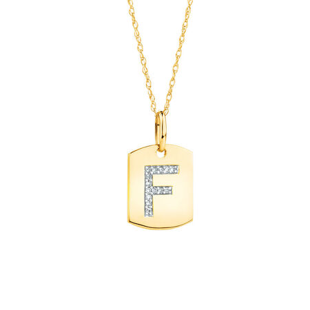 """F"""" Initial Rectangular Pendant With Diamonds In 10kt Yellow Gold"""