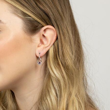 Drop Stud Earrings with Amethyst & Diamonds in 10kt White Gold