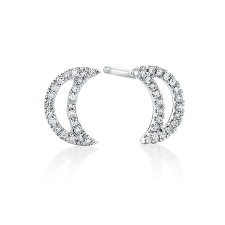 Half Moon Stud Earrings With Diamonds In 10kt White Gold