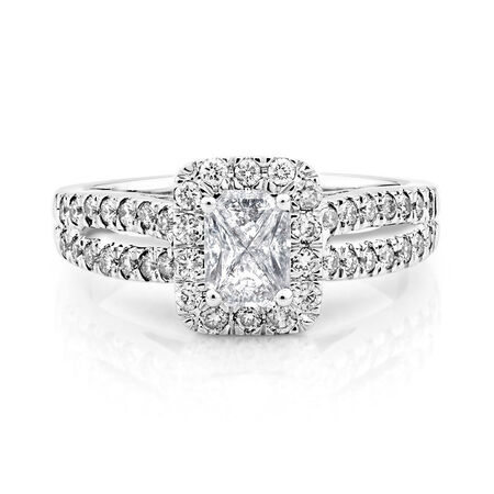 Engagement Ring with 0.90 Carat TW of Diamonds in 14kt White Gold