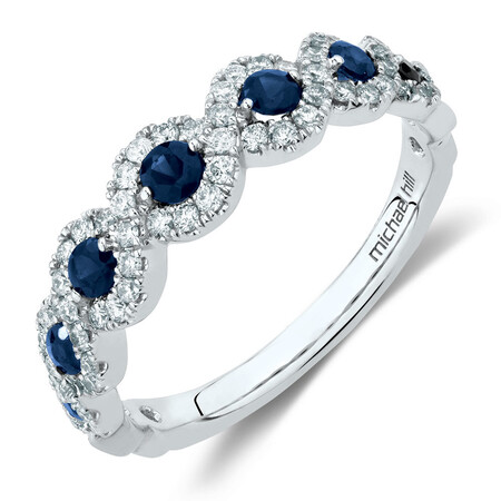 Ring with Sapphire & 0.37 Carat TW of Diamonds in 14kt White Gold