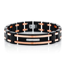 Men's Bracelet with Cubic Zirconia in Black PVD & Rose Plated Stainless Steel