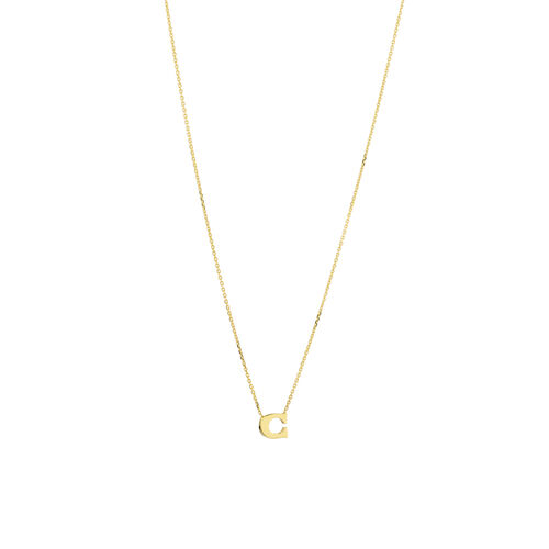 """C"" Initial Necklace in 10kt Yellow Gold"