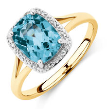 Ring with Blue Topaz & Diamonds in 10kt Yellow Gold