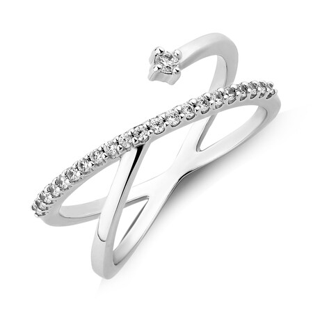 Crossover Ring with Cubic Zirconia in Sterling Silver