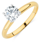 Solitaire Engagement Ring with a 1 Carat Diamond in 14kt Yellow & White Gold