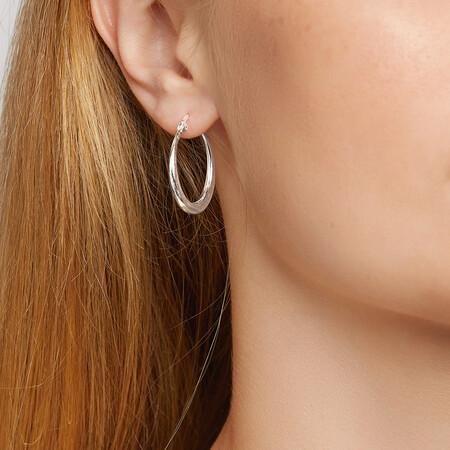 25mm Round Hoop Earrings in Sterling Silver