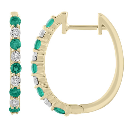 Huggie Earrings with Created Emerald & Diamonds in 10kt Yellow Gold