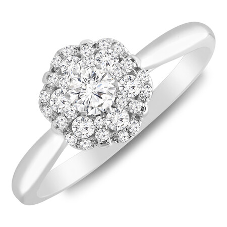 Flower Cluster Ring with 0.35 Carat TW of Diamonds in 10kt White Gold