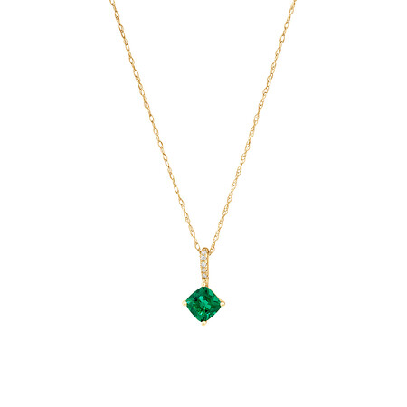 Pendant with Created Emerald & Diamonds in 10kt Yellow Gold