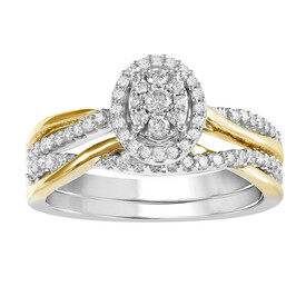 Oval Ring with 0.33 Carat TW of Diamonds in 10kt Yellow & White Gold
