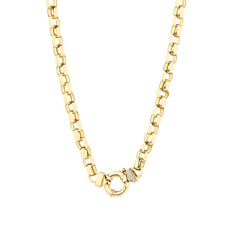 Diamond Set Oval Rolo Chain in 10kt Yellow Gold