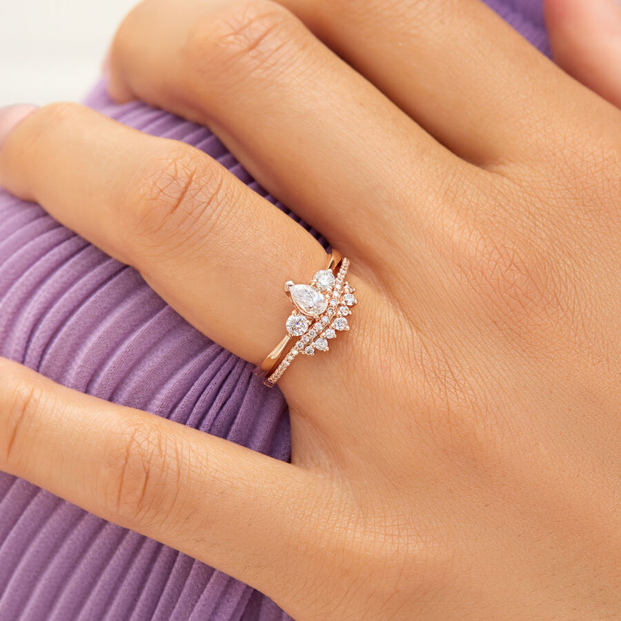 Evermore Three Stone Engagement Ring with 0.50 Carat TW of Diamonds in 10kt Rose Gold