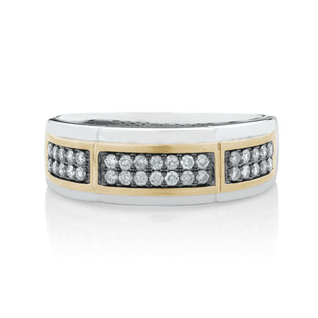 Men's Ring with 0.38 Carat TW of Brown Diamonds in 10kt White & Yellow Gold