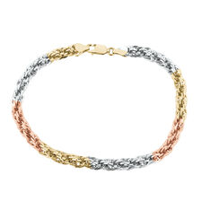 Rope Bracelet in 14kt Yellow, White & Rose Gold