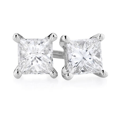 Certified Stud Earrings with 0.71 Carat TW of Diamonds in 14kt White Gold