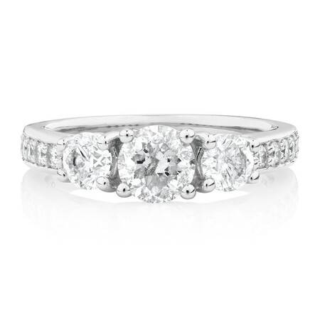 Three Stone Engagement Ring with 1 1/2 Carat TW of Diamonds in 14kt White Gold