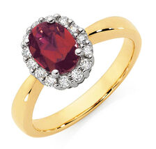 Ring with Created Ruby & 1/4 Carat TW of Diamonds in 10kt Yellow & White Gold