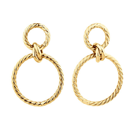 Twisted Rope Drop Earrings In 10kt Yellow Gold
