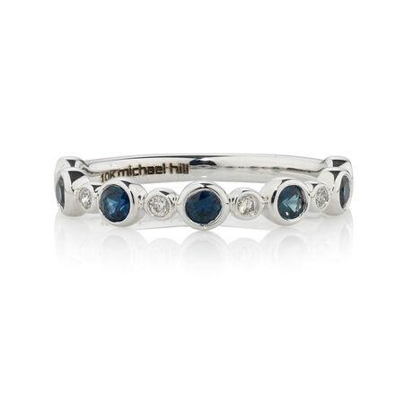 Online Exclusive - Fancy Ring with Diamonds & Sapphire in 10kt White Gold