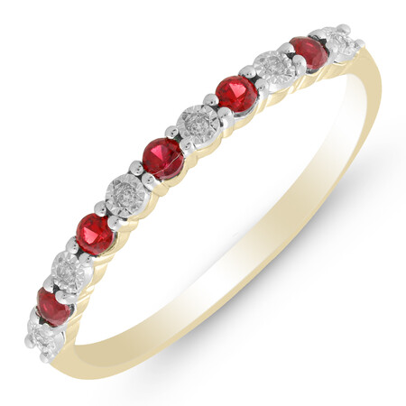 Ring with Created Ruby & Diamond in 10kt Yellow Gold