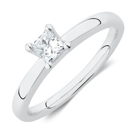 Whitefire Solitaire Engagement Ring with A 0.34 Carat TW Diamond in 18kt White & 22ct Yellow Gold