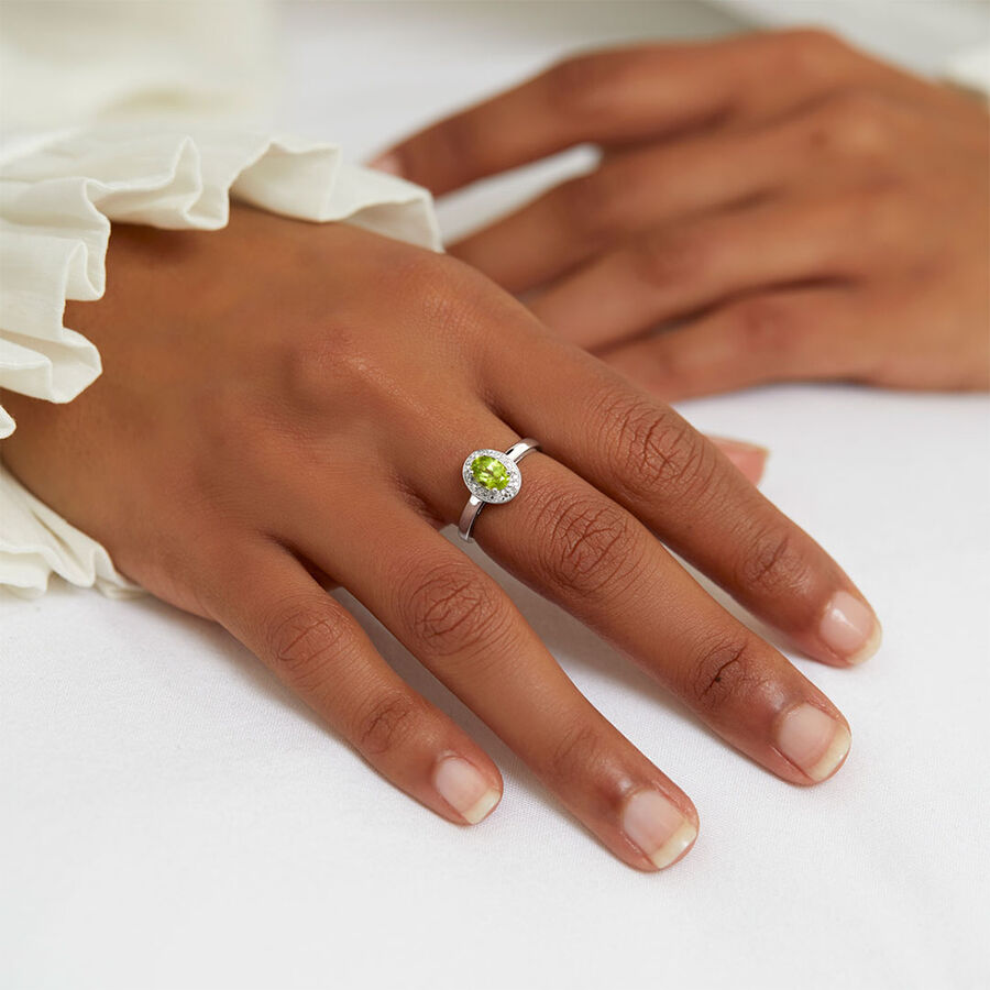 Halo Ring with Peridot & Diamonds in Sterling Silver