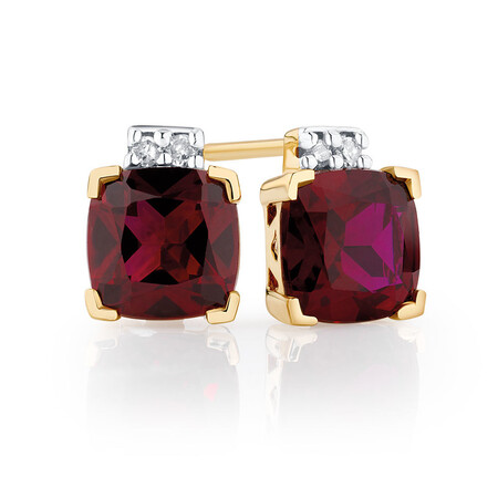 Stud Earrings with Created Ruby & Diamonds in 10kt Yellow Gold