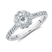Southern Star Engagement Ring with 3/4 Carat TW of Diamonds in 14kt White Gold