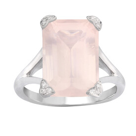 Ring with Pink Quartz & Diamond in Sterling Silver