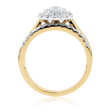 Bridal Set with 0.90 Carat TW of Diamonds in 10kt Yellow & White Gold