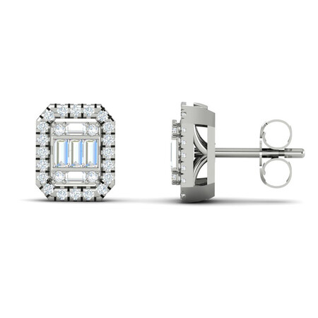 Cluster Stud Earrings with 0.20 Carat TW of Diamonds in 10kt White Gold